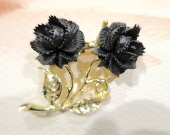 Vintage Faux Black Coral Carved Rose Brooch Gold Tone Leaves Double Bloom Black Rose Brooch Flower Brooch  1 3/4 x 1 1/2 inches