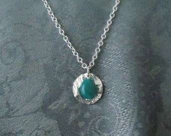 Textured Sterling Silver Necklace with Blue Faceted Bead