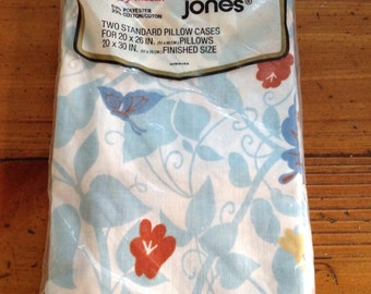 Pair Morgan Jones Butterfly and Floral Standard Size Pillowcases, MIP