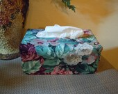 Ready To Ship -  Floral  - Fabric Tissue Box Cover for Kleenex Ultra Long Box