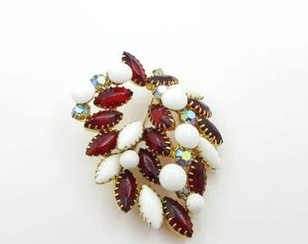 Milk Glass  Ruby and Watermelon Brooch  Large Art Glass Mid Century