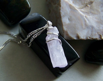 Pink Kunzite Natural Raw Crystal Pendant