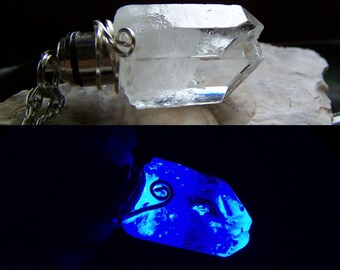 Blue LED Light Up Natural Quartz Crystal Pendant