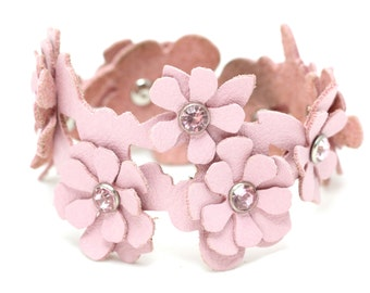 Leather cuff bracelet pink floral flower bracelet wedding jewelry with crystal centers third anniversary Valentine's day Mother's day gift