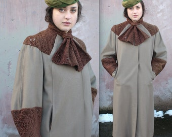 Vintage 1940s Cape // 40s Taupe Wool Coat with Brown Persian Lamb Wool Bow Collar and Cuffs // Bishop Sleeve Winter Coat
