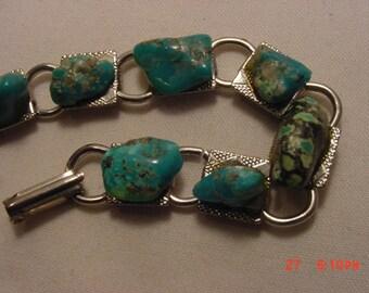 Vintage Real Turquoise Nugget Bracelet  16 - 877