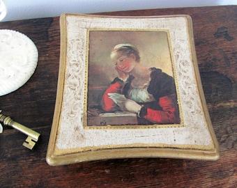 Vintage Musical Jewelry Box, Florentine Jewelry Box, Music Box Made in Japan