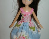 """Handmade 7"""" doll clothes for Lottie - blue and pink floral dress"""
