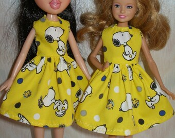 """Handmade 9"""" little sister fashion doll clothes - yellow snoopy print dress"""