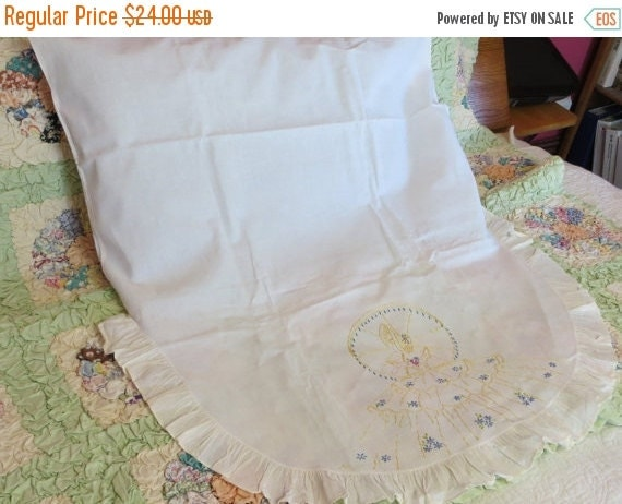 ON SALE Vintage Embroidered Southern Belle Euro Sham-Bedding-Accent Pillow