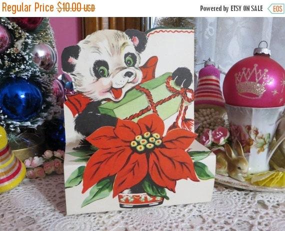 ON SALE Vintage Retro Mid Century Christmas Greeting Card-Panda Bear-Unused-Childrens-Stand-Up-3-D