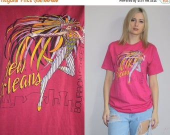 40% Limited time SALE  - 1980s Vintage New Orleans Bourbons Street Mardi Gras New Wave Graphic T Shirt - Vintage 80s Tee - W00488