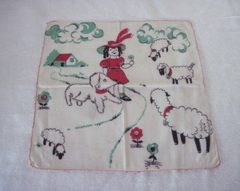 Vintage Children's Child's Cotton Hanky Handkerchief Mary Lambs Dog Out For A Stroll