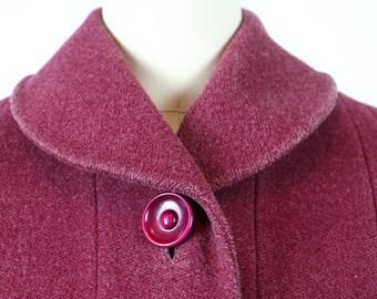 Vintage 1930s Coat / 1940s Coat / Vintage Coat / Wool Coat / Raspberry Coat / Pink Coat 1930s Dress Coat 1940s Dress Coat