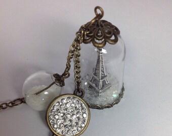 Eiffel Tower Snow Globe/Winter in Paris/Silver plated Eiffel Tower/Paris France Eiffel Tower/Amour/Paris in Winter/Magical Glowing Snow