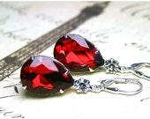 ON SALE Vintage Glass Jewel Earrings in Siren Red and Diamond - Crystal Teardrop Earrings in Light Siam Red - Sterling Silver