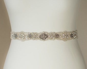 Wedding dress sash, Crystal Bridal dress sash, Crystal wedding sash belt, Wedding dress belt, Bridal sash belt, Crystal belt, Thin sash belt