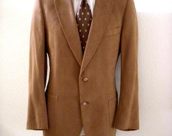 Vintage Men's Tan Sport Coat by LANVIN for Saks Fifth Avenue - Feather Suede Brown Jacket - 70s 80s Mens Ultra Suede Jacket - Size 42 L