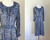 vintage 1940s dress - BLUE CLOVER sheer day dress / L