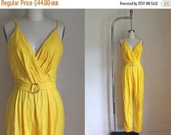SHOP SALE vintage 1980s jumpsuit - BANANA bright yellow faux wrap playsuit / Xs-S