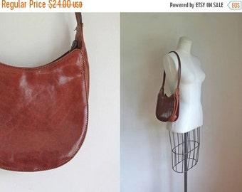 SHOP SALE vintage leather handbag -  CHERRY Wood brown satchel bag