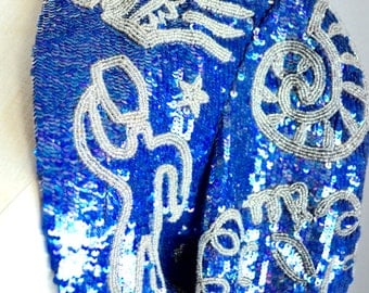 Vintage 70s North Beach Royal Blue sequined Silver beaded zodiac astrology Bolero jacket Cropped