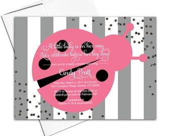 ladybug theme baby shower invitation girl | gray pink black | little ladybug theme invitation | ladybug birthday invitation - WLP00744