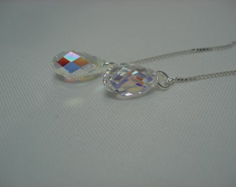 Aurora Borealis Teardrop Swarovski Crystals on Sterling Ear Threads- Threader Earrings - Necklace- FREE SHIPPING To U.S.-