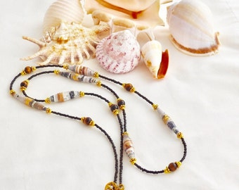 Gold and Brown Tigers Eye Paper Beaded Necklace