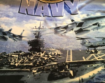 "Fleece Fabric Blanket Fabric Panel Navy Airplane Fabric Size 50"" Long X 62"" Wide #4156"