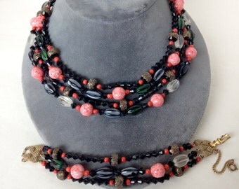 Vintage Original Schiaparelli 4 Strand Necklace Bracelet Demi Parure Signed
