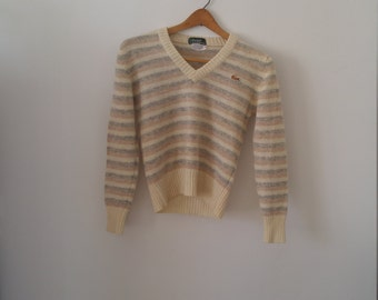 SWEATER SALE Lacoste striped wool v neck sweater size small