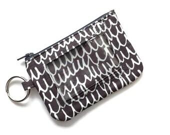 Keychain ID Wallet/Student ID Holder w/Keychain/Id Badge Holder/Card Wallet/Keychain Coin Purse/Zipper Id Case/Scribble Gray Cream