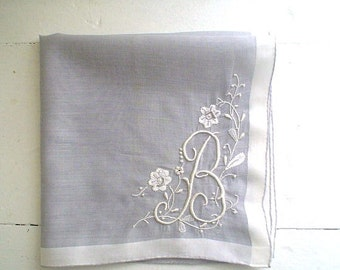 Vintage 1950s American Grey Hankie with Monogram B Hand Embroidered Vintage Handkerchief Cotton Lawn Fabric