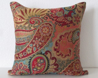 Festive Colorful Paisley Pillow Cover