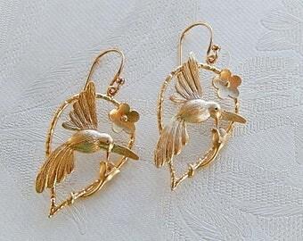 Hummingbird Earrings, Floral Earrings,  Dangly,  Gift for Her