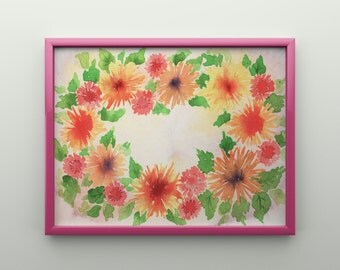 Floral Wreath Print -  Watercolor Mums