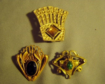 Lot 3 Art Nouveau Victorian Pins Brooches 1 Is Lapel Watch Pin 8980