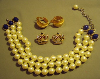 Vintage Kenneth Jay Lane Laguna 3 Strand Faux Pearl Necklace 2 Pairs KJL Earrings Rhinestone Crown 9014