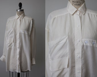 Vintage 80s SILK Oversized White Button Down Blouse Classic Shirt Oxford Chest Pockets Star Emboirdery L