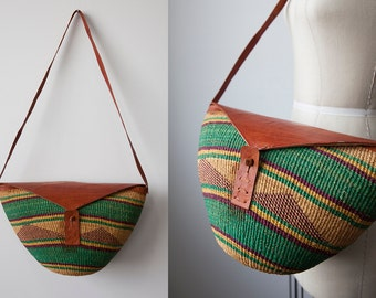 SALE 50% OFF Vintage 70s Woven Market Bag with Whiskey Brown Leather Flap and Shoulder Strap Boho Hippie Bohemian Purse