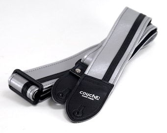Silver and Black Racer-X Guitar Strap