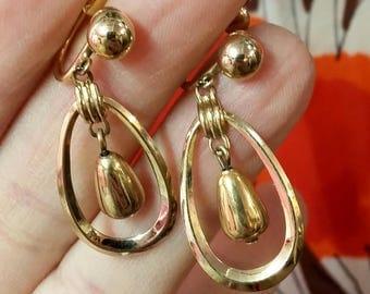 Vintage Earrings Van Dell Screw Back Dangle Drop Gold Earrings 50's 60's Mid Century Fashion Jewelry 1/20th 12K GF