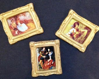 3 Dollhouse Miniature Prints with gold colored frames, 1:12 scale wall art