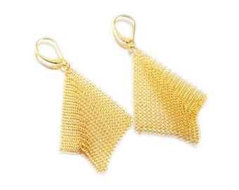 Latitude, Gold or Silver Mesh Earrings, ACE1137, by ashley childs