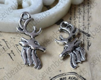 24 pcs Charms Deer Head Pendant Antique silver Tone, Deer Head Pendant Charms Fingdings pendant,jewelry pendant finding,Metal pendant