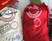 Personalized Santa Sack - Custom Christmas Sack - North  Pole Bag with Child's name - Blank Santa North Pole Bag - Ships Free - Red Bag