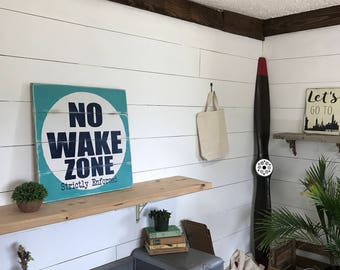 Nautical No Wake Zone Sign - Large Rustic Beach House Decor -Pallet Pool Sign -Nursery Decor - Shhh Baby Sleeping Sign - No Wake Sign