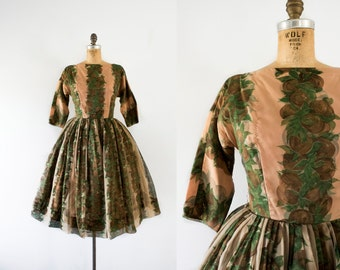1960s Flourishing Vineyard mocha party dress / 60s romantic floral