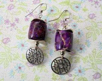 Purple and Silver Boho Earrings (3111)